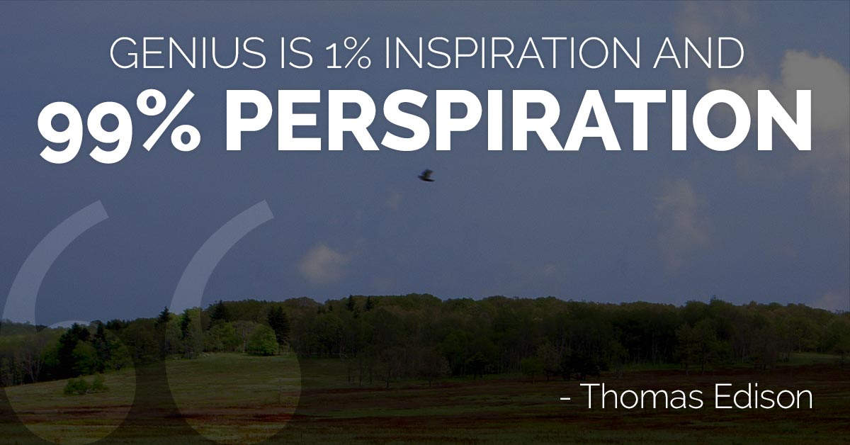 success is 99 perspiration and 1 inspiration