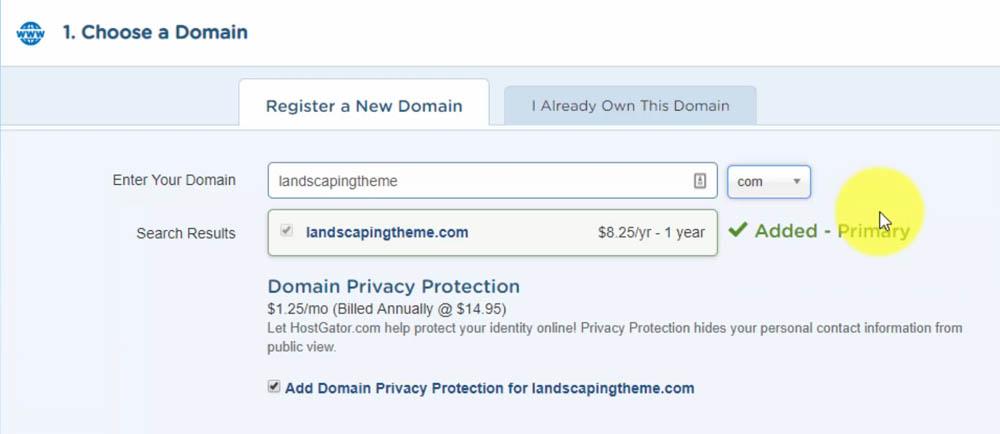 HostGator Checkout - Register Your Domain