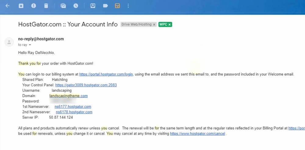 HostGator Account Info