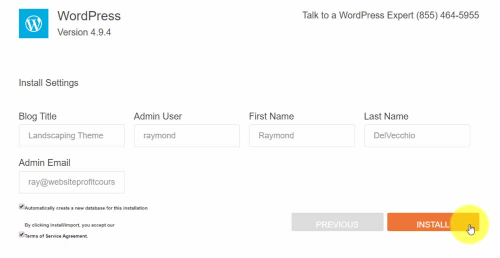 How to Install WordPress - Settings
