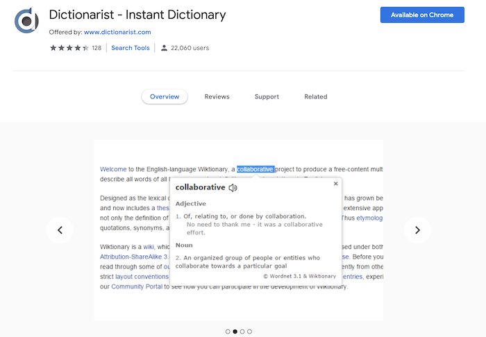 Dictionarist Chrome Extension screenshot
