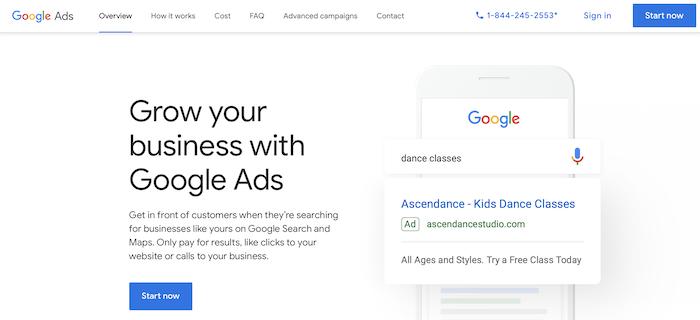 Google Ads homepage